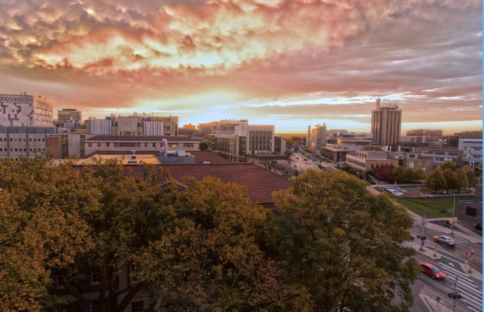 Sunrise picture over campus buildings