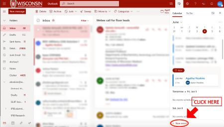Image showing the + New event button in WiscMail interface